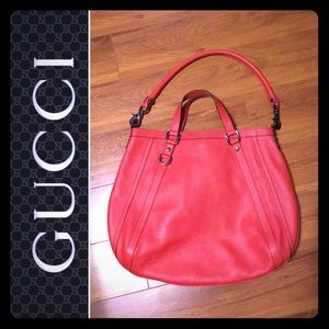 Like New - Red Leather Gucci Hobo